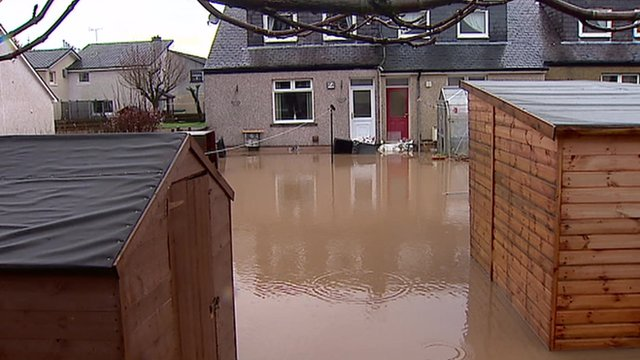 Flood water in Kirkconnel