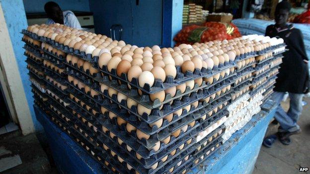 An egg vendor in Senegal
