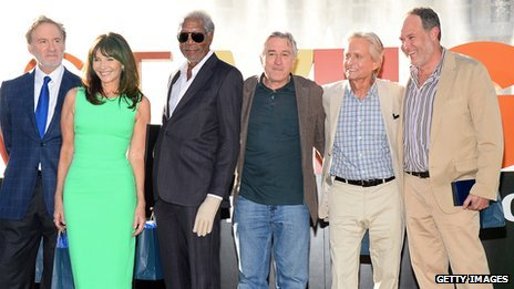 Kevin Kline, Mary Steenburgen, Morgan Freeman, Robert De Niro and Michael Douglas with Last Vegas director Jon Turteltaub