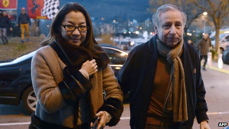 International Automobile Federation (FIA) President Jean Todt and his wife Michelle Yeoh arrive to visit Michael Schumacher on December 31, 2013