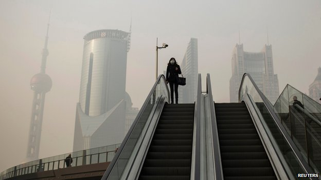 Smog in Shanghai's financial district of Pudong