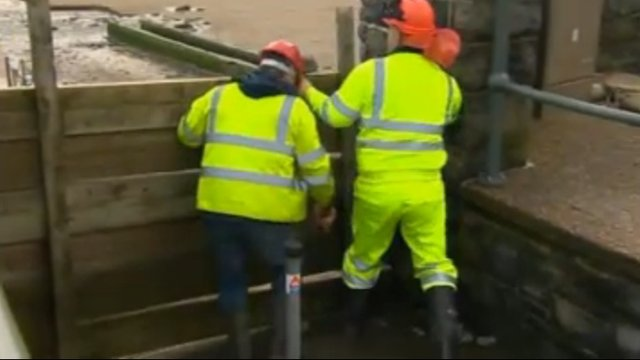 Flood defences in Pendine, Carmarthenshire, are strengthened