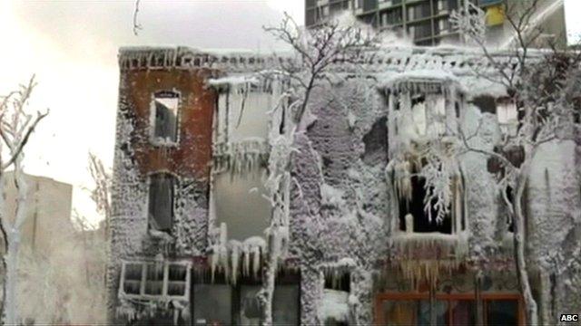 Ice on building