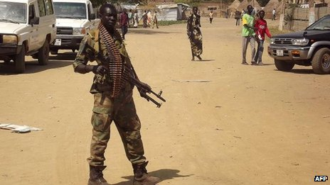 A government soldier patrols Malakal in Upper Nile State, 31 Dec