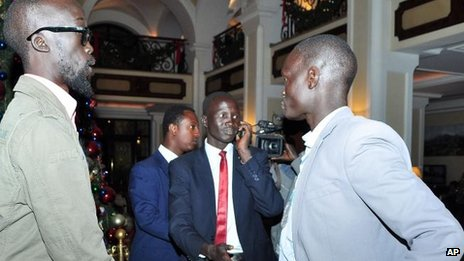 Mabior Garang, left, part of the negotiating team backing Riek Machar, arrives for talks in Addis Ababa, 3 Jan