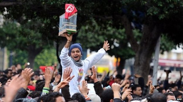 A Tunisian demonstrator holds a cage and the national country flag, during a rally on 14 January 2011 outside the Interior ministry in Tunis, Tunisia