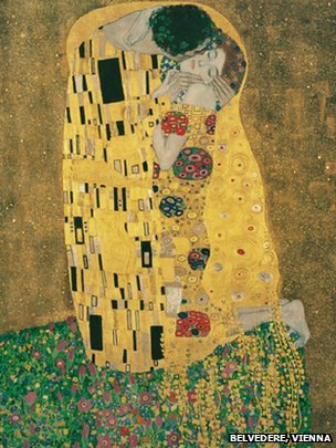Gustav Klimt - Kiss, 1908/1909, Oil on canvas, 180 x 180cm. Courtesy of Belvedere, Vienna