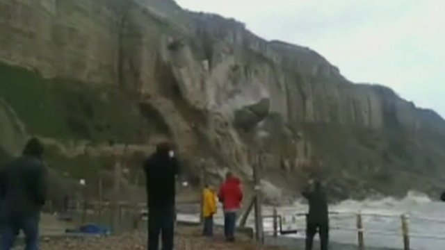 Part of the Rock-a-Nore cliff falls into the sea near Hastings