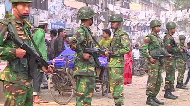 Bangladeshi armed forces on the streets