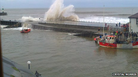 Aberystwyth seafront hit by the stormy weather