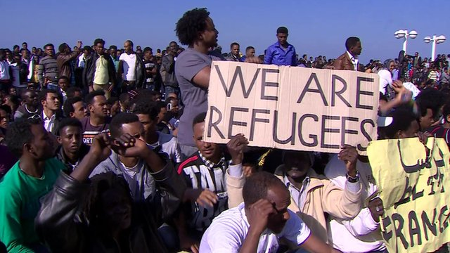 African asylum seekers protest in Tel Aviv
