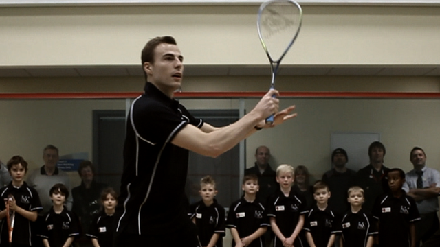 Squash world champion Nick Matthew is helping to inspire children to get into his sport