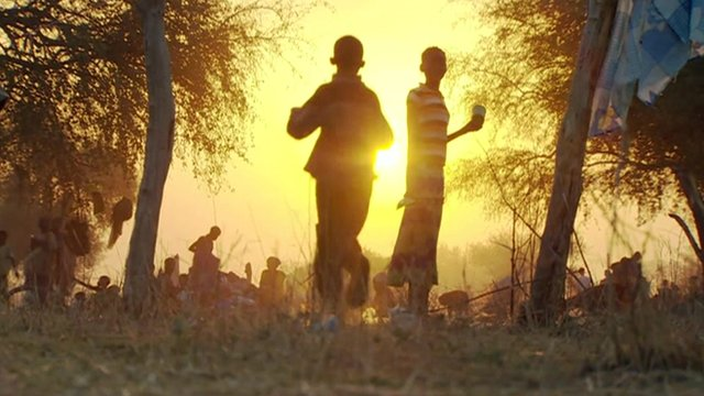 Children silhouetted in the Sun in South Sudan