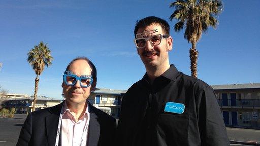 Rory Cellan Jones and Chris Elsworthy wearing 3D-printed glasses