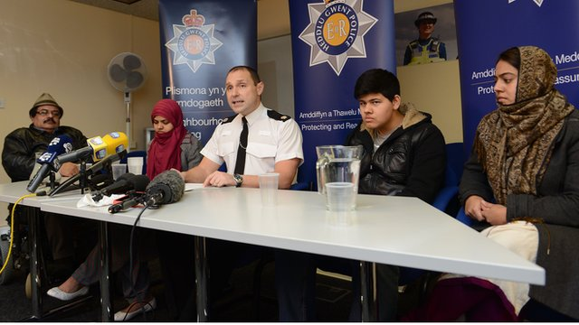 Nida Ul-Naseer's family at the police press conference on Tuesday