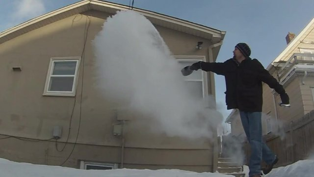 Man throws hot water in air and it turns to snow in Minnesota