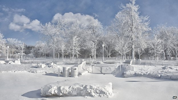 The frozen mist from Niagara Falls coats the landscape around Prospect Point at Niagara Falls State Park