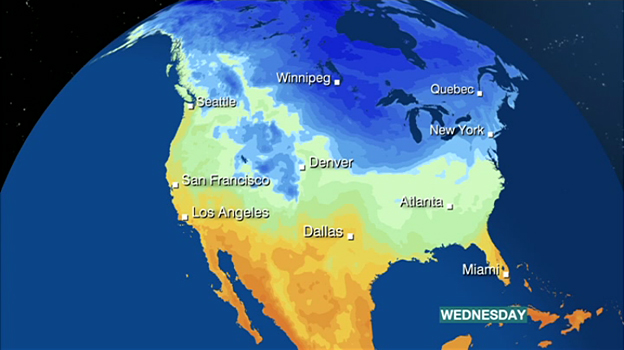Weather map showing how the polar vortex is bringing freezing weather to the US