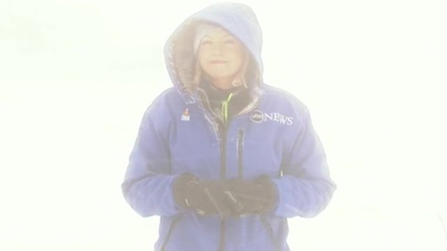 ABC news correspondent Linzie Janis in a snow storm in Buffalo in New York