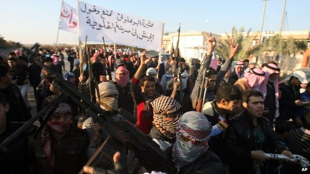 Gunmen protest against the Iraqi government in Fallujah (7 January 2014)
