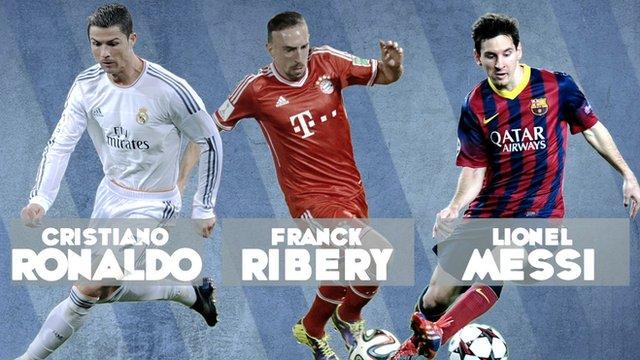 Cristiano Ronaldo, Franck Ribery and Lionel Messi