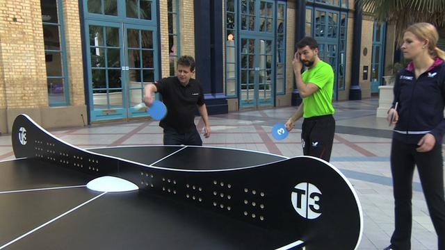 Mike Bushell tries triples ping-pong