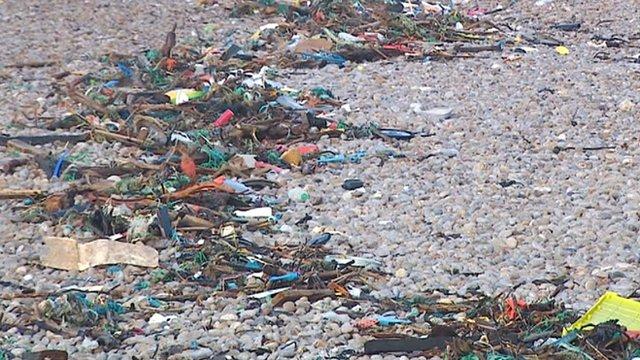 Rubbish on Chesil Beach