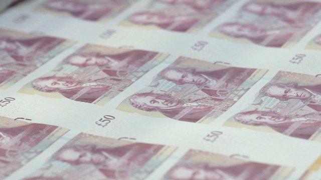 Sheet of £50 notes