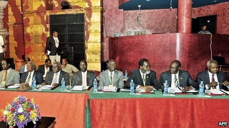 South Sudanese government representatives attend peace talks on the fighting in South Sudan on in a nightclub in Addis Ababa, Ethiopia 13 January 2014