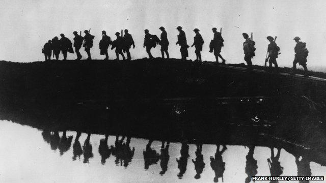 WW1 troops in silhouette