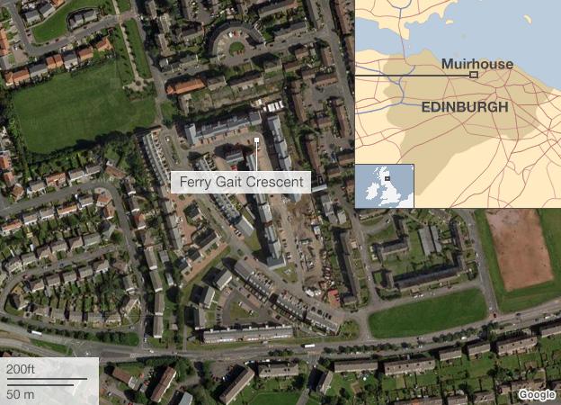 Satellite image of the Muirhouse area of Edinburgh