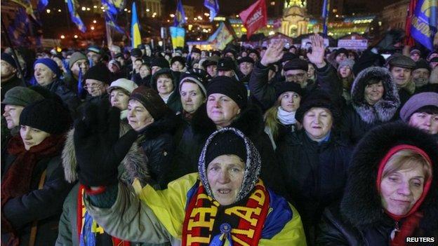 Pro-EU protesters in Kiev. Photo: 16 January 2014