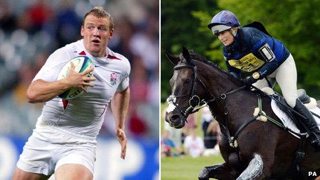 Mike Tindall playing for England, Zara Tindall riding a horse