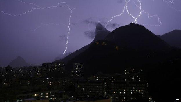 Lightning bolts near the Christ the Redeemer statue