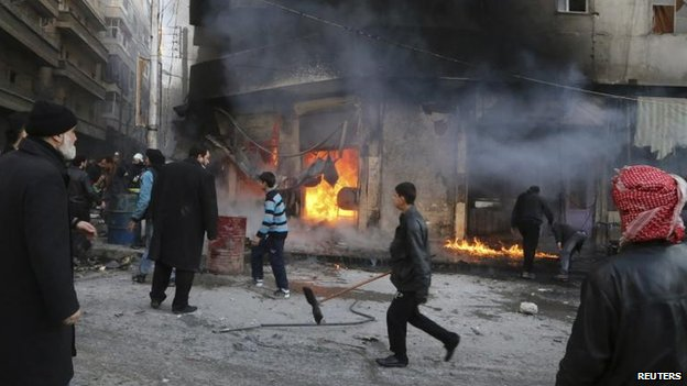 Conflict damage in Aleppo, 18 Jan