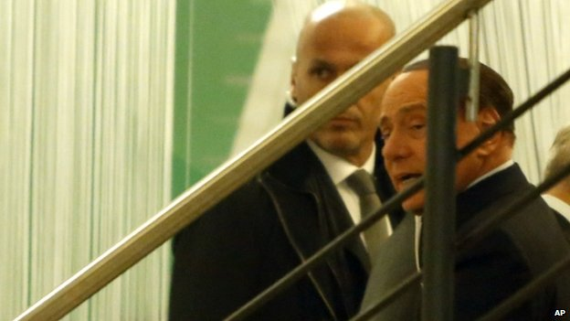 Silvio Berlusconi at Democratic Party HQ on 18 Jan
