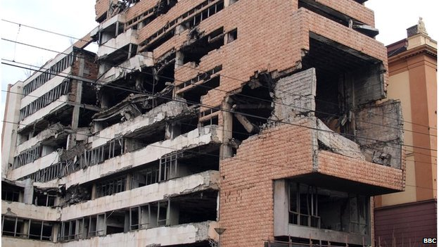 Government buildings bombed by Nato in air-strikes on Belgrade in 1999.
