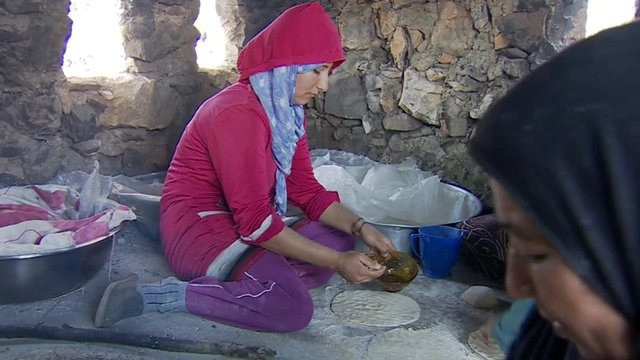 Syrian women working in Wadi Khaled's bakery
