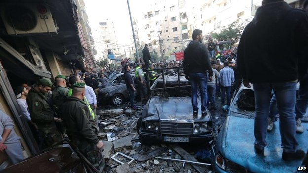 Aftermath of Beirut bomb attack, 21 January 2014