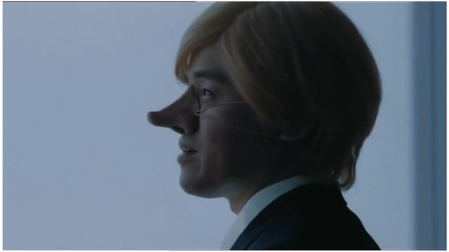 ANA advert with fake nose and wig