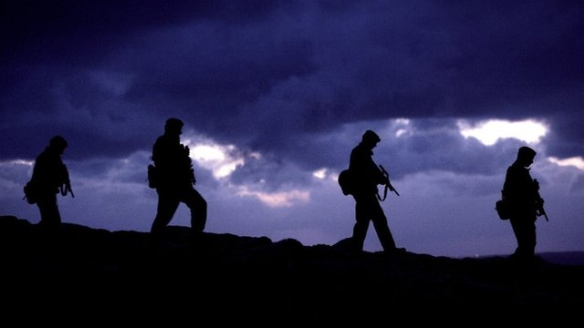 Silhouette of Falklands Islands Defence Force soldiers
