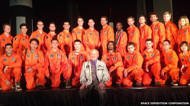 The winners of the competition with Buzz Aldrin