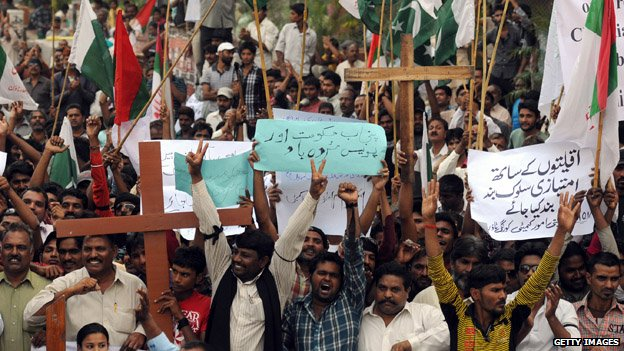 Christians at a protest after violence over accusations of blasphemy - March 2013