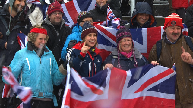 Great Britain's Lizzy Yarnold celebrates winning the World skeleton title