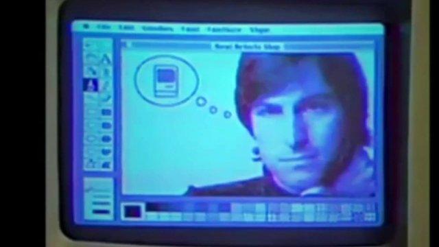 Computer screen showing Steve Jobs