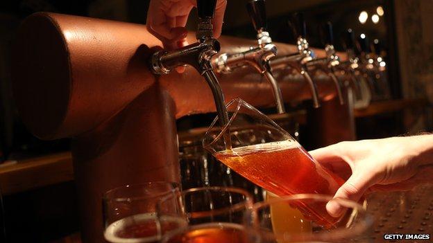 Beer being poured in a bar in Berlin