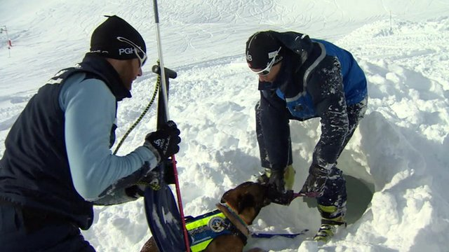 Two mountain gendarmes train a rescue dog on the snowy slopes above the village of Montgenèvre