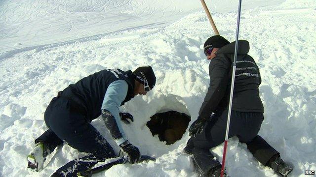 Alpine rescuers in avalanche training on the Franco-Italian border