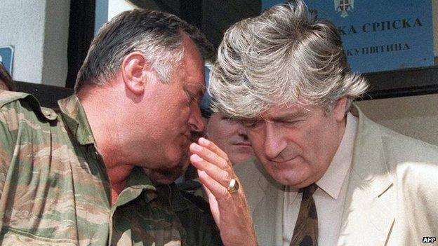 Ratko Mladic and Radovan Karadzic in Pale, 1993