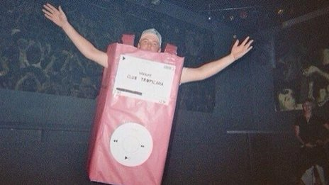 Student Andy Collett dressed as an iPod